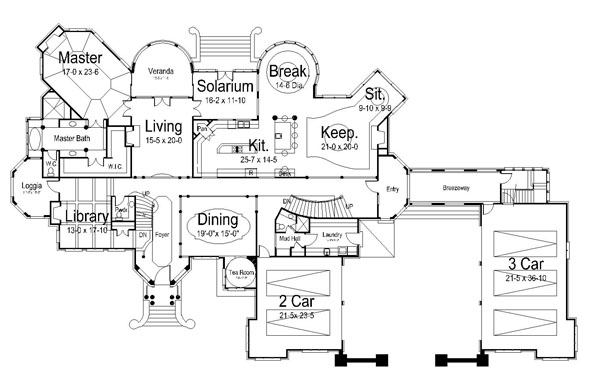 1st Floor Plan image of Chateaubriand House Plan