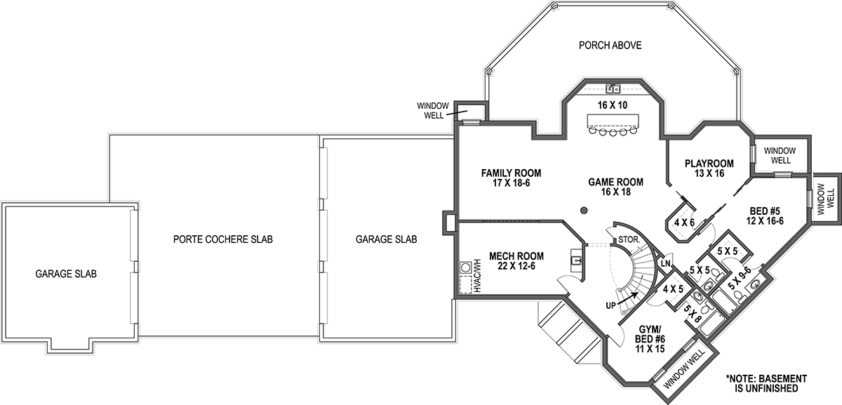 Basement Floor Plan image of Lady Rose House Plan