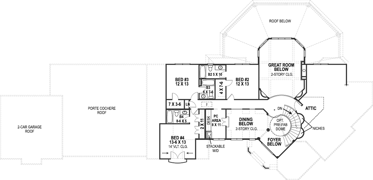 2nd Floor Plan image of Lady Rose House Plan