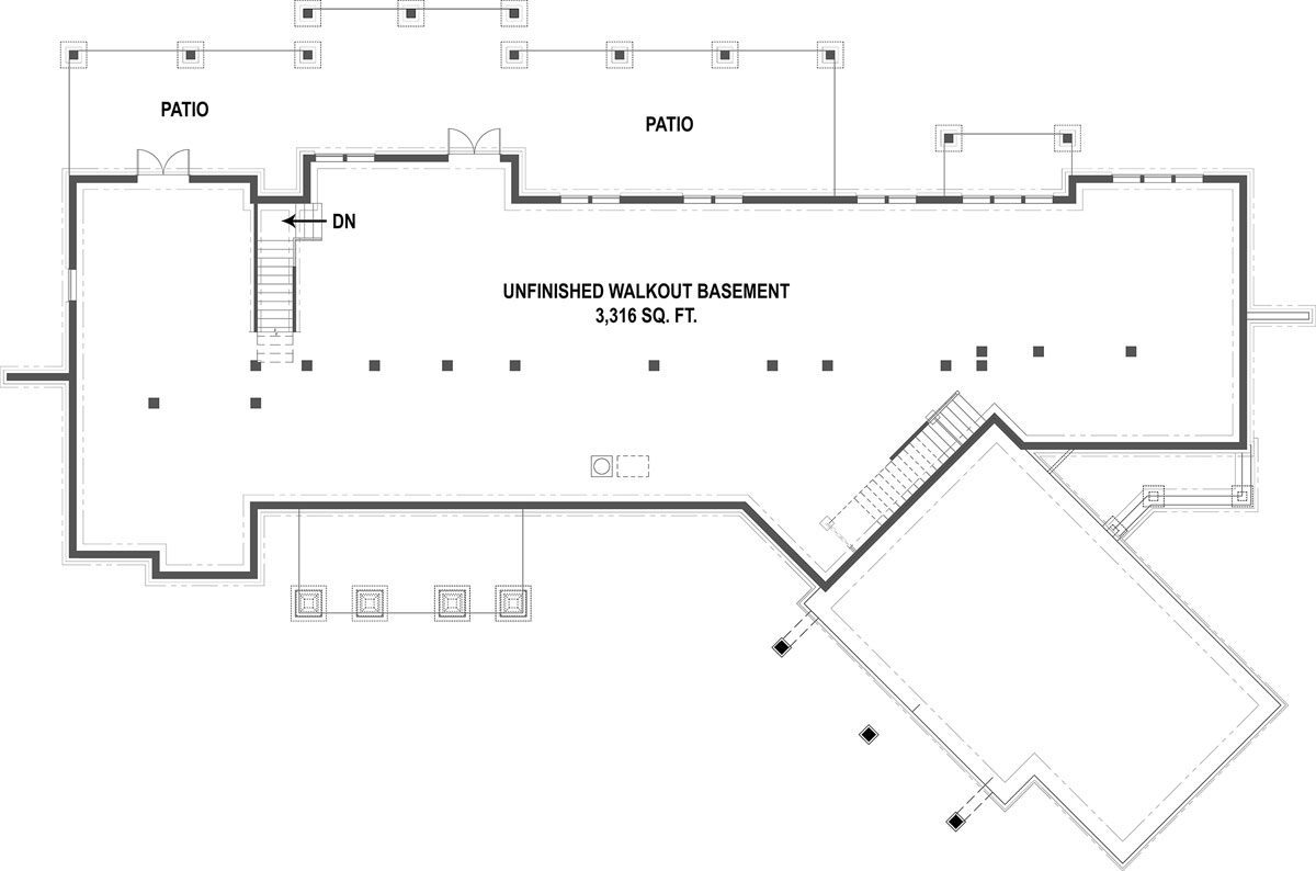 Basement Floorplan image of Pepperwood Place House Plan