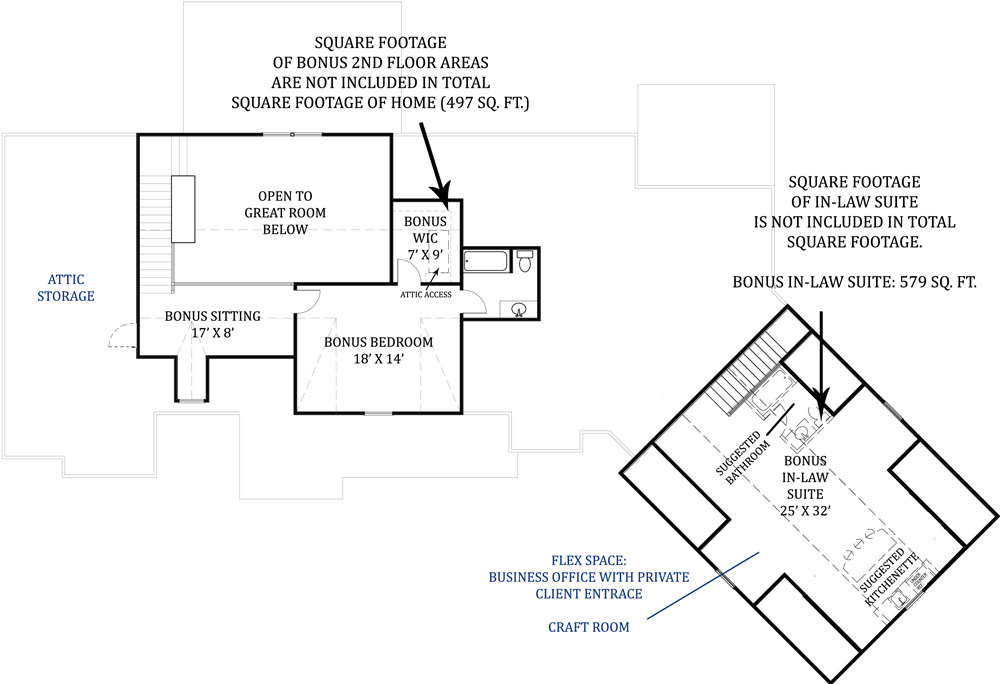 Second Floor Plan image of Tres Le Fleur House Plan