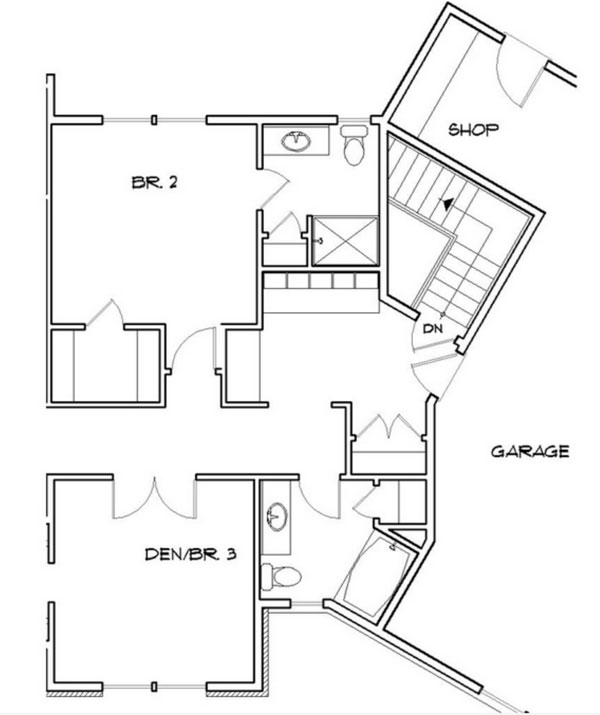 Basement Stair Location image of Whitworth House Plan