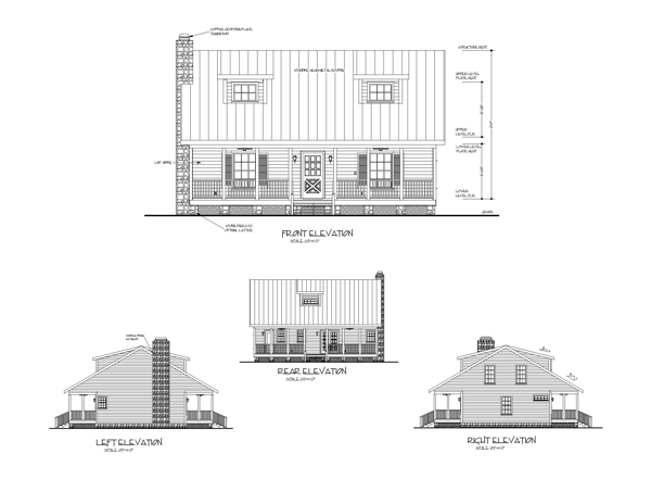 All Elevations image of The Mountain View House Plan