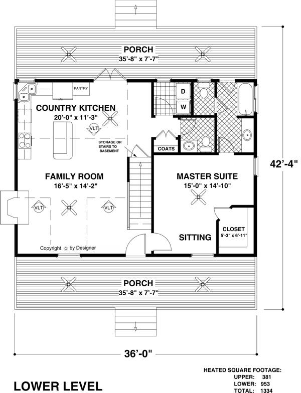 Lower Level Floorplan image of The Mountain View House Plan