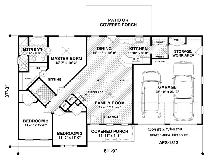 Main Level Floor Plan image of The Hidden Meadow House Plan