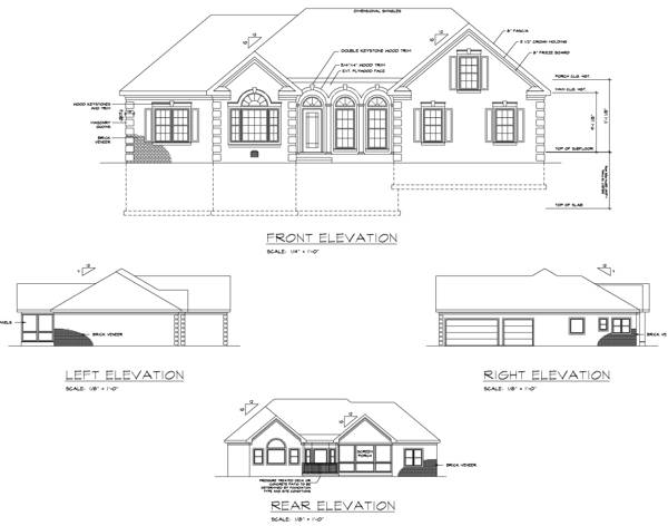 Rear Elevation image of The Oak Lane House Plan