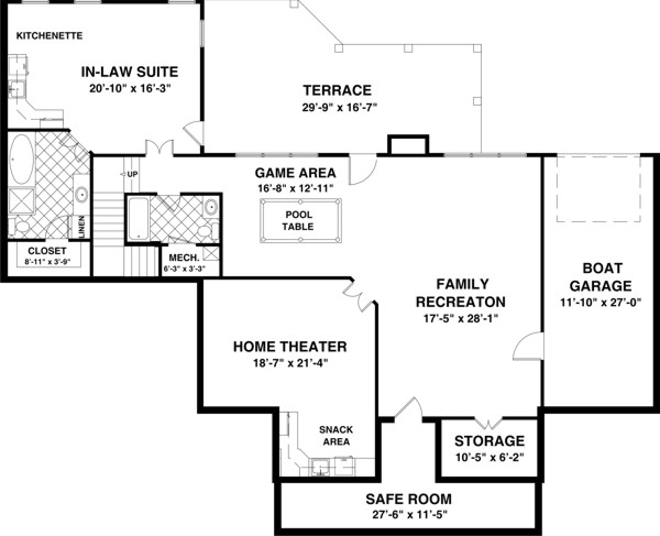 House plans and design house plans single story with basement for One story floor plans with basement