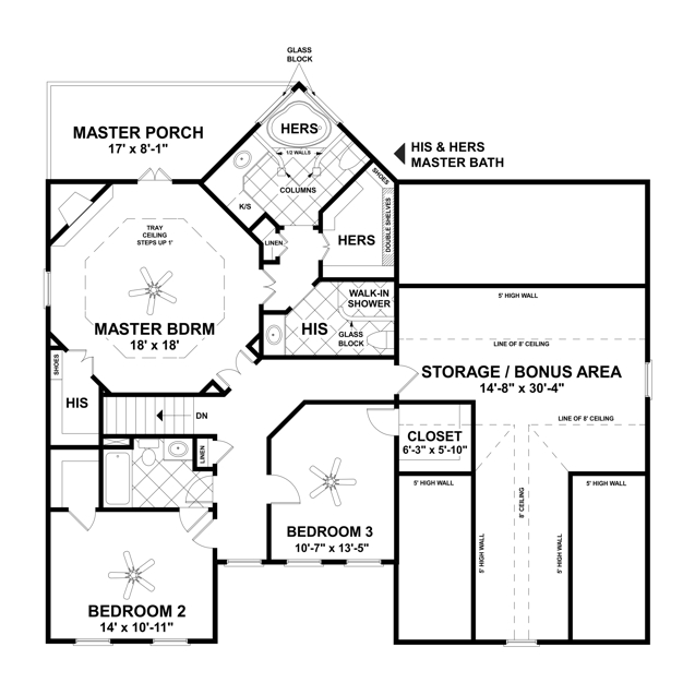 Upper Level Floorplan image of October Place House Plan