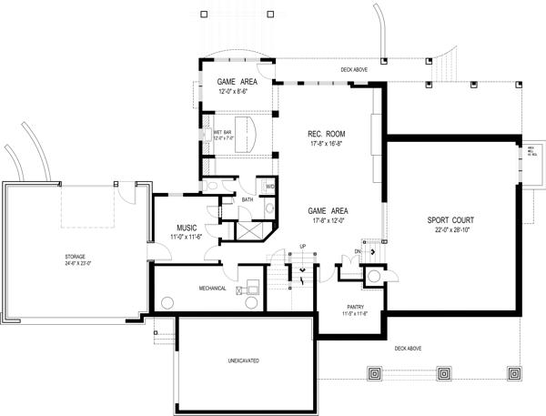 Optional Basement Plan image of Olmstead House Plan