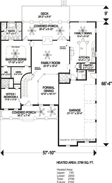 Main Level Floor Plan image of The Compass Pointe House Plan