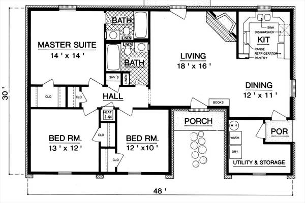 Floor Plan image of Sanderville - 1214 House Plan