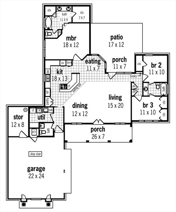 Floor Plan image of CAPE CORAL - 1633 House Plan