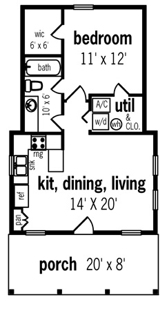 First Floor Plan image of Hickory Pass - 500 House Plan