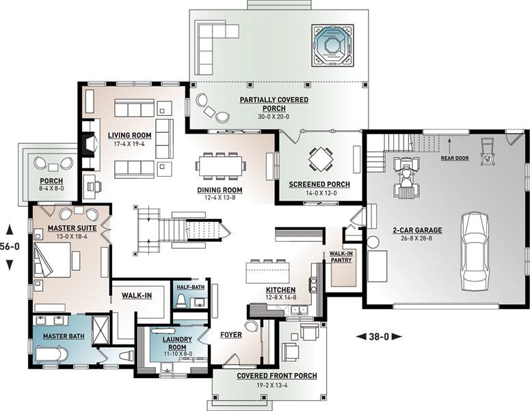 1st Floor Plan image of Midwest 2 House Plan