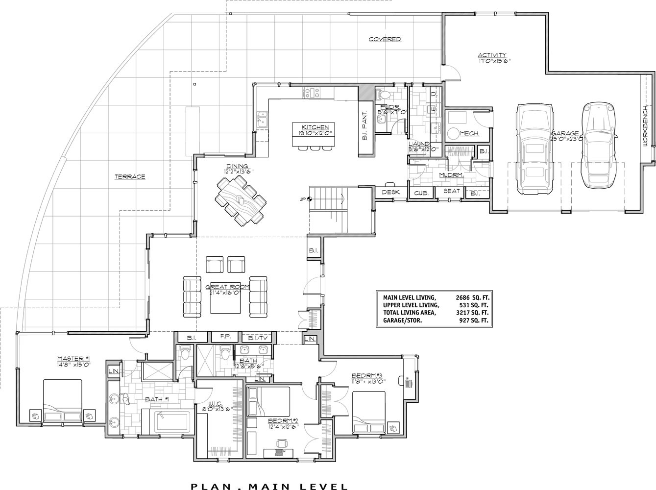 1st Floor Plan image of Luxury Contemporary House Plan