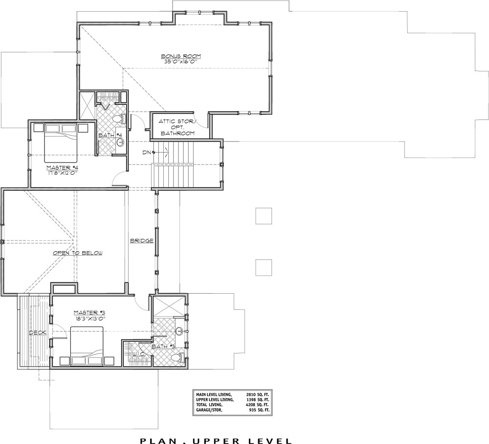 2nd Floor Plan image of Magnificent Mountain House Plan