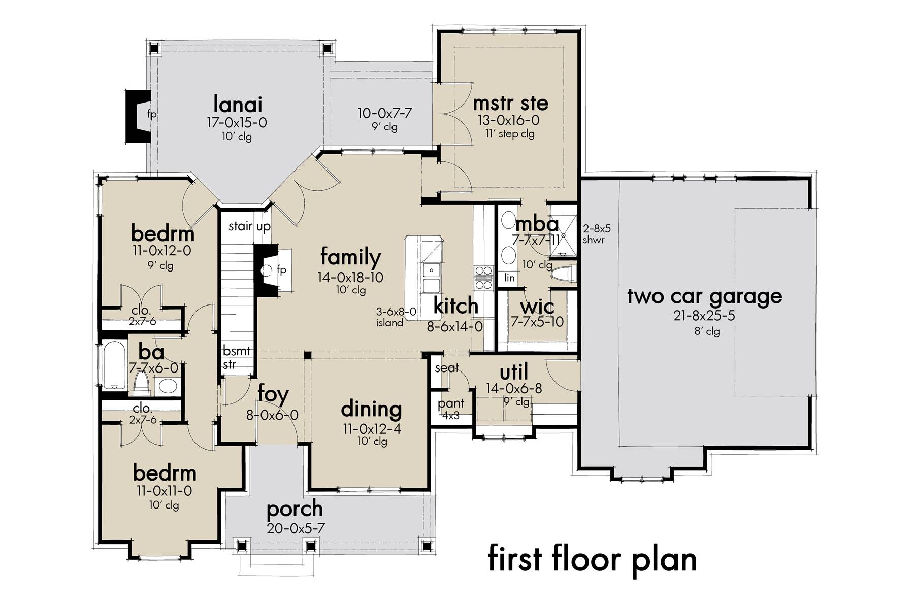 First Floor Plan image of High Meadow Cabin House Plan