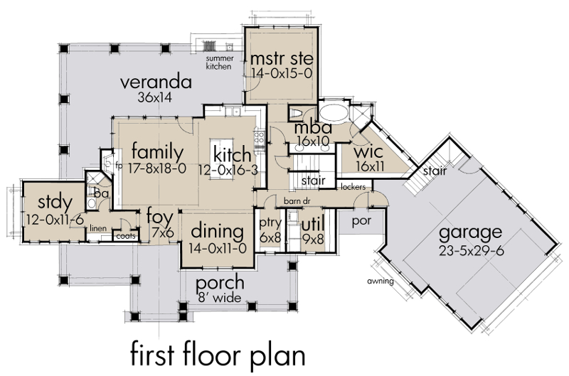 First Floor Plan image of Magnolia Farm House House Plan