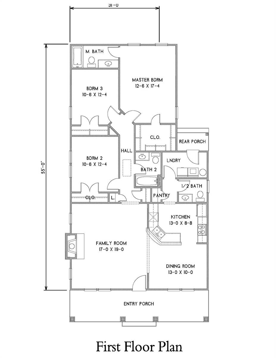 1st Floor Plan image of Oakwood 31 House Plan