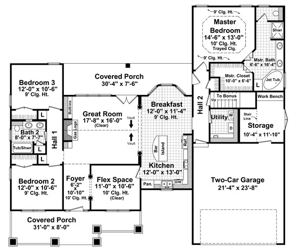 1st Level Floorplan image of The Lexington Ridge House Plan