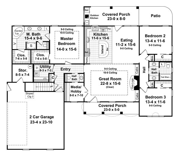 1st Level Floorplan image of The Forrest Wood House Plan