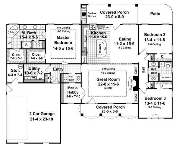 1st Level Floorplan image of The Pecan Meadow House Plan