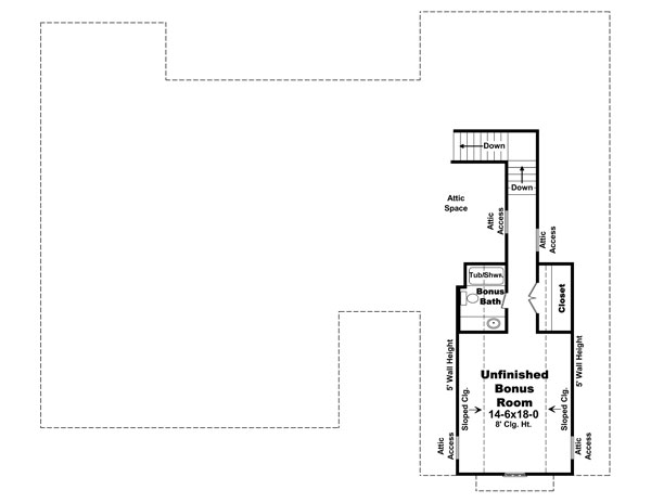 Bonus Room Floorplan image of The Morgan Ridge House Plan