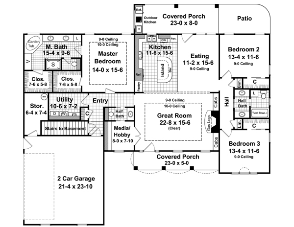 First Floor with Basement Stair Option image of The Pecan Meadow House Plan
