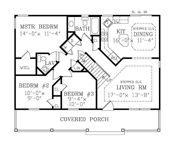 First Floor Plan image of ASHEVILLE SMALL COTTAGE House Plan