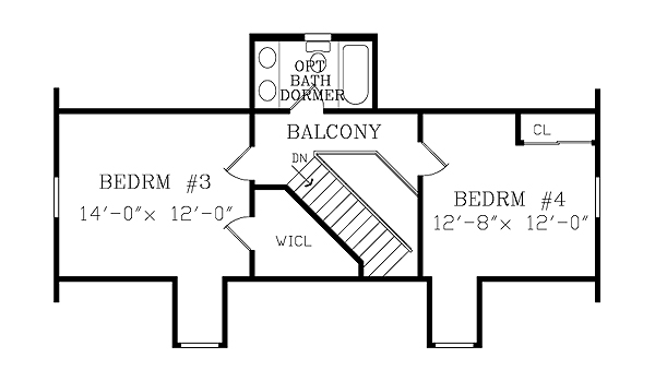 Second Floor Plan image of ASHEVILLE SMALL COTTAGE House Plan