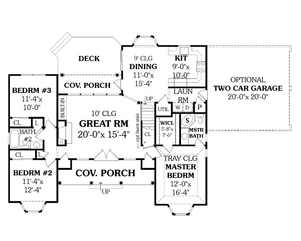 First Floor Plan image of Affordable Ranch House Plan