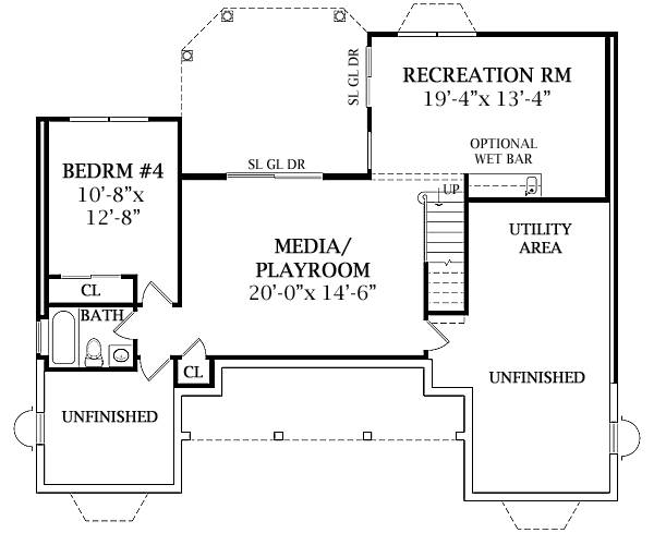 Walk-out Basement Plan image of LEWISBURG RANCH House Plan
