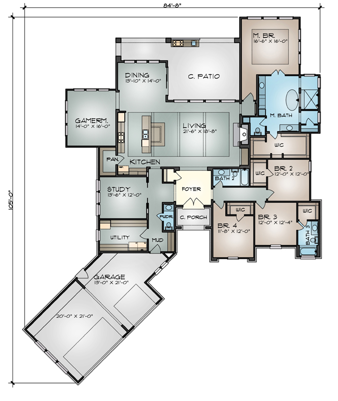 Floor Plan image of THE DEVEREAUX C House Plan