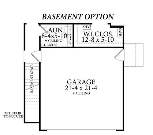 Basement Stair Location image of Stonebrook House Plan