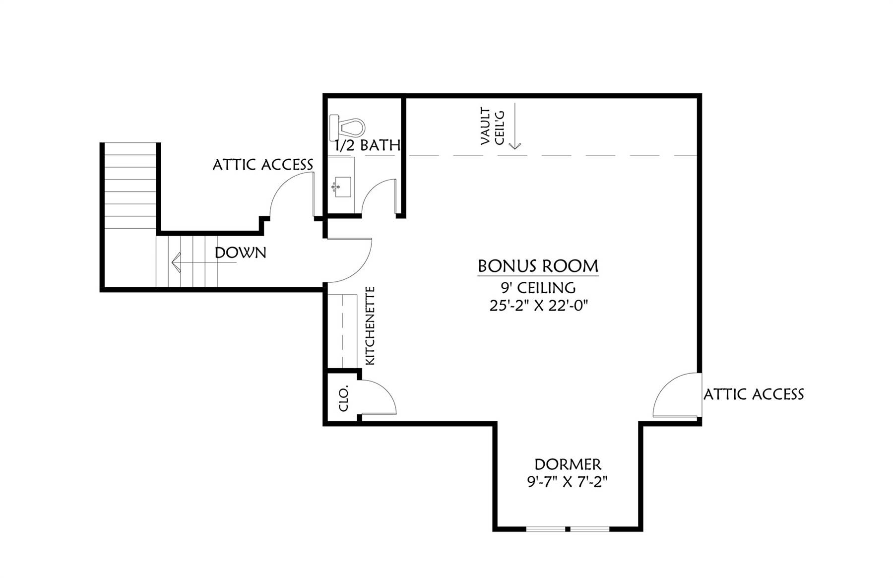 Bonus Room image of Cotton Grove House Plan