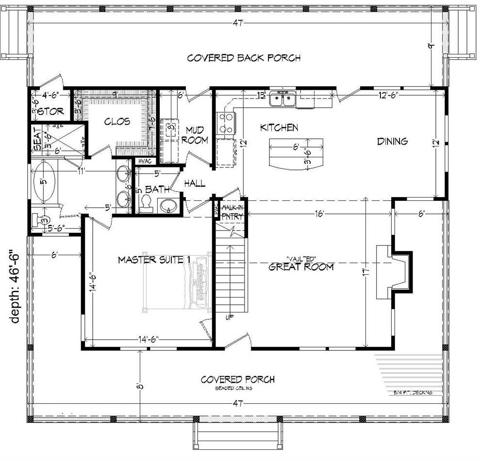 1st Floor Plan image of Rivers Edge-D House Plan