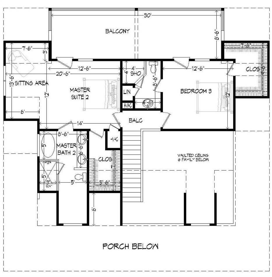 2nd Floor Plan image of Rivers Edge-D House Plan