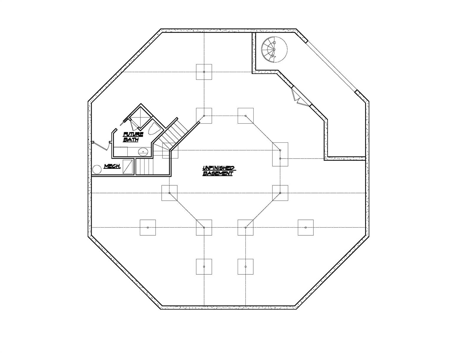 Lower Level Plan image of Octagon House Plan