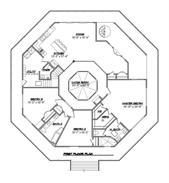 Main Floor Plan image of Octagon House Plan
