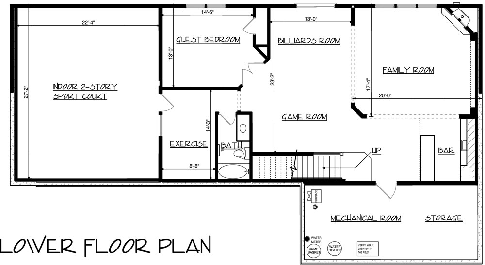 House 3 story craftsman with sport court house plan for House plans with indoor sport court