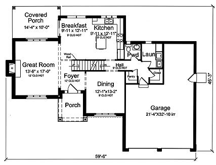 First Floor Plan image of The Groveport House Plan