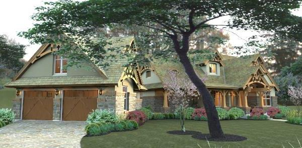 Rendering - Right image of Merveille Vivante Small House Plan