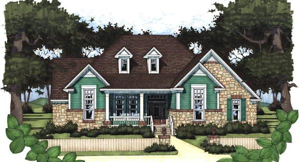 Rendering - Front image of The Oakwood House Plan