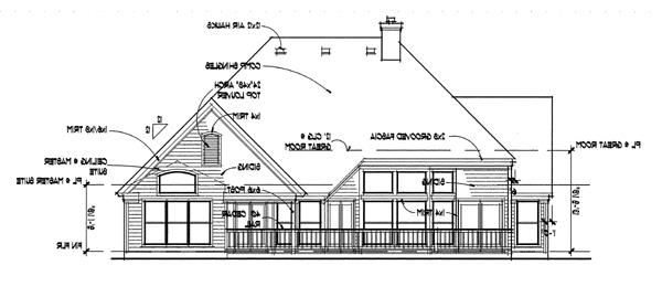 Rear Elevation image of The Oakwood House Plan