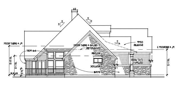 Right Elevation image of The Oakwood House Plan