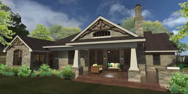 Rear Rendering image of La Casa Bella House Plan