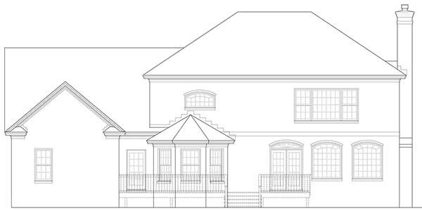 Rear Elevation image of Warwick House Plan