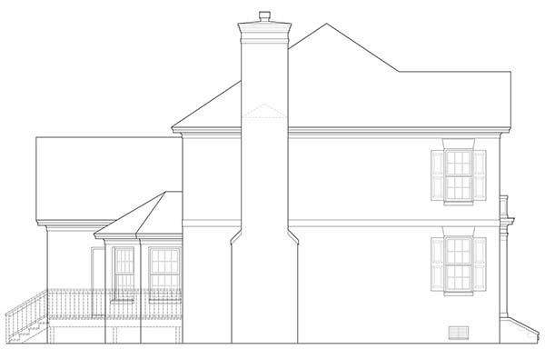 Right Side Elevation image of Warwick House Plan