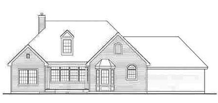 Rear Elevation image of LEWISBURG RANCH House Plan