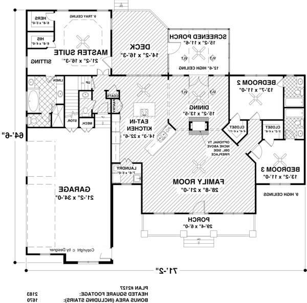 Main Level Floor Plan image of The Waterside House Plan